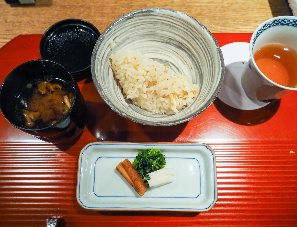 Traditional kaiseki dessert is rice (this one is with ginger), pickles and miso