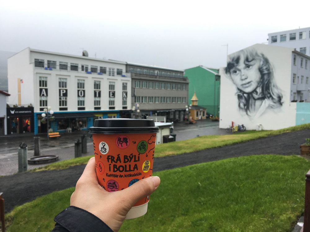 Kaffi Ilmur latte and the most adorable main street in Akureyri