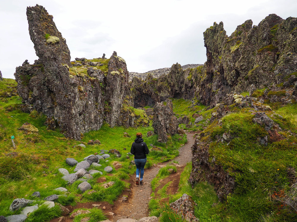 Walking through a supposed elf village. When you look at the crazy looking lava formations, it's hard not to believe in magical creatures!