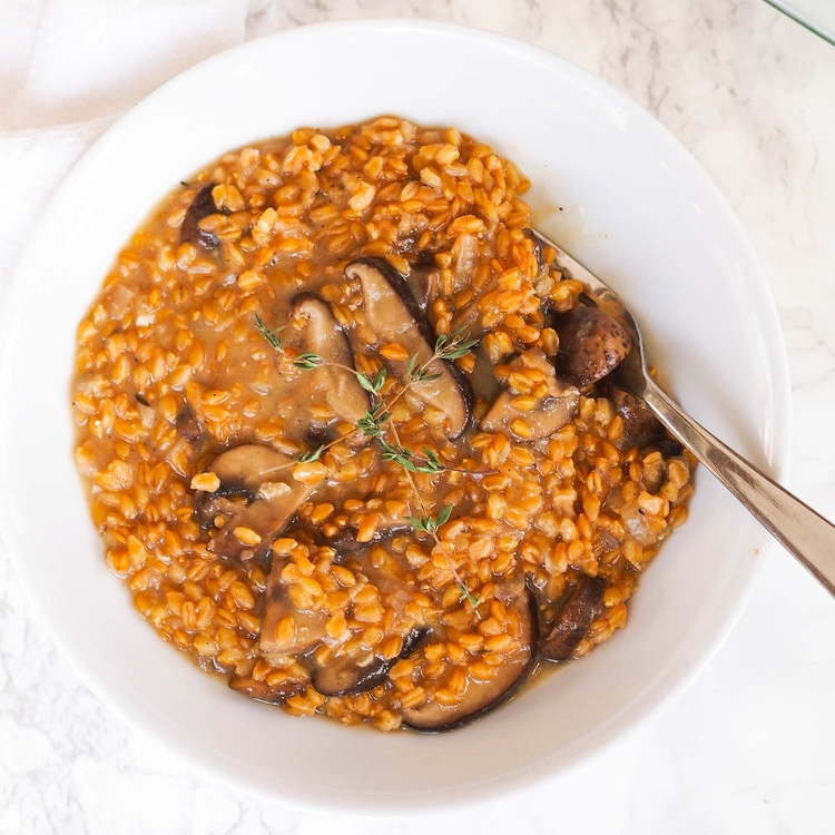 Pressure Cooker Wheat Berry and Mushroom Risotto
