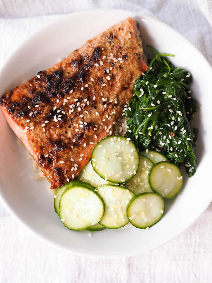 Miso Roasted Salmon with Quick Pickles and Sesame Spinach
