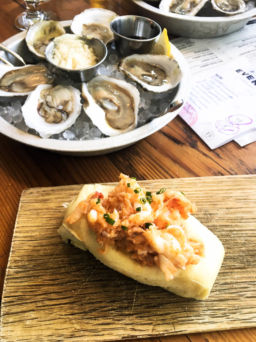Awesome tapas-style seafood lunch at Eventide. Ordered raw oysters with horseradish snow and their famous lobster roll. It comes with brown butter lobster and a bun that's reminiscent of a Chinese pork bun.