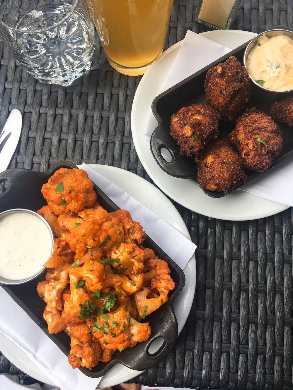 Crab and corn fritters and buffalo cauliflower with my brother and SIL in Boston at Union Oyster House