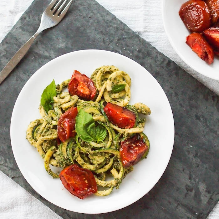 Zoodle Salad with Creamy Pesto and Roasted Tomatoes