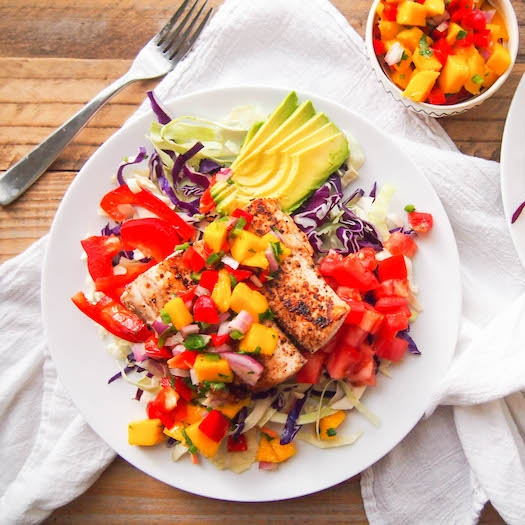 Spicy Mahi Fish Taco Salad with Mango Salsa