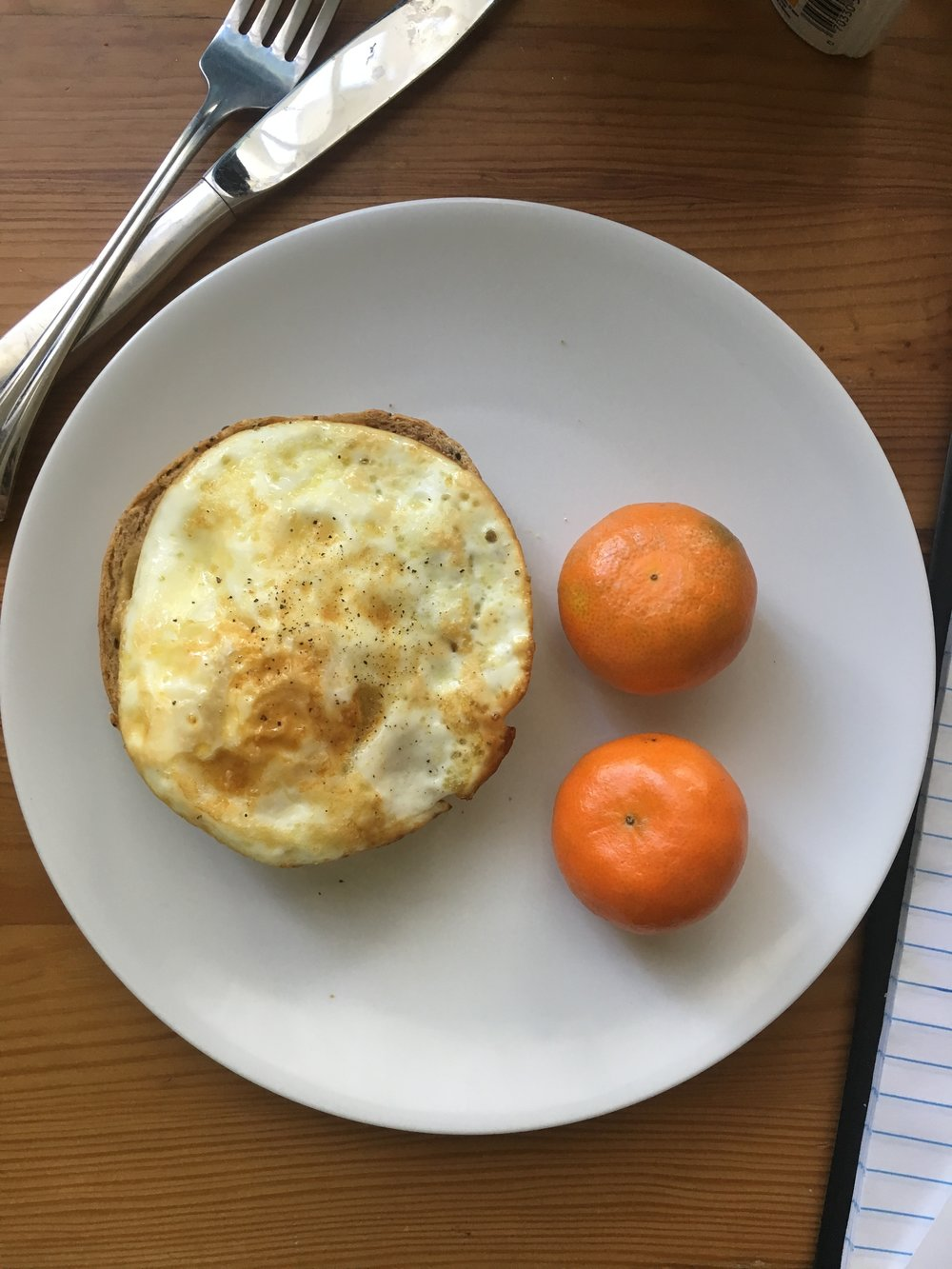 Egg, toast and tangerines. #nofilter