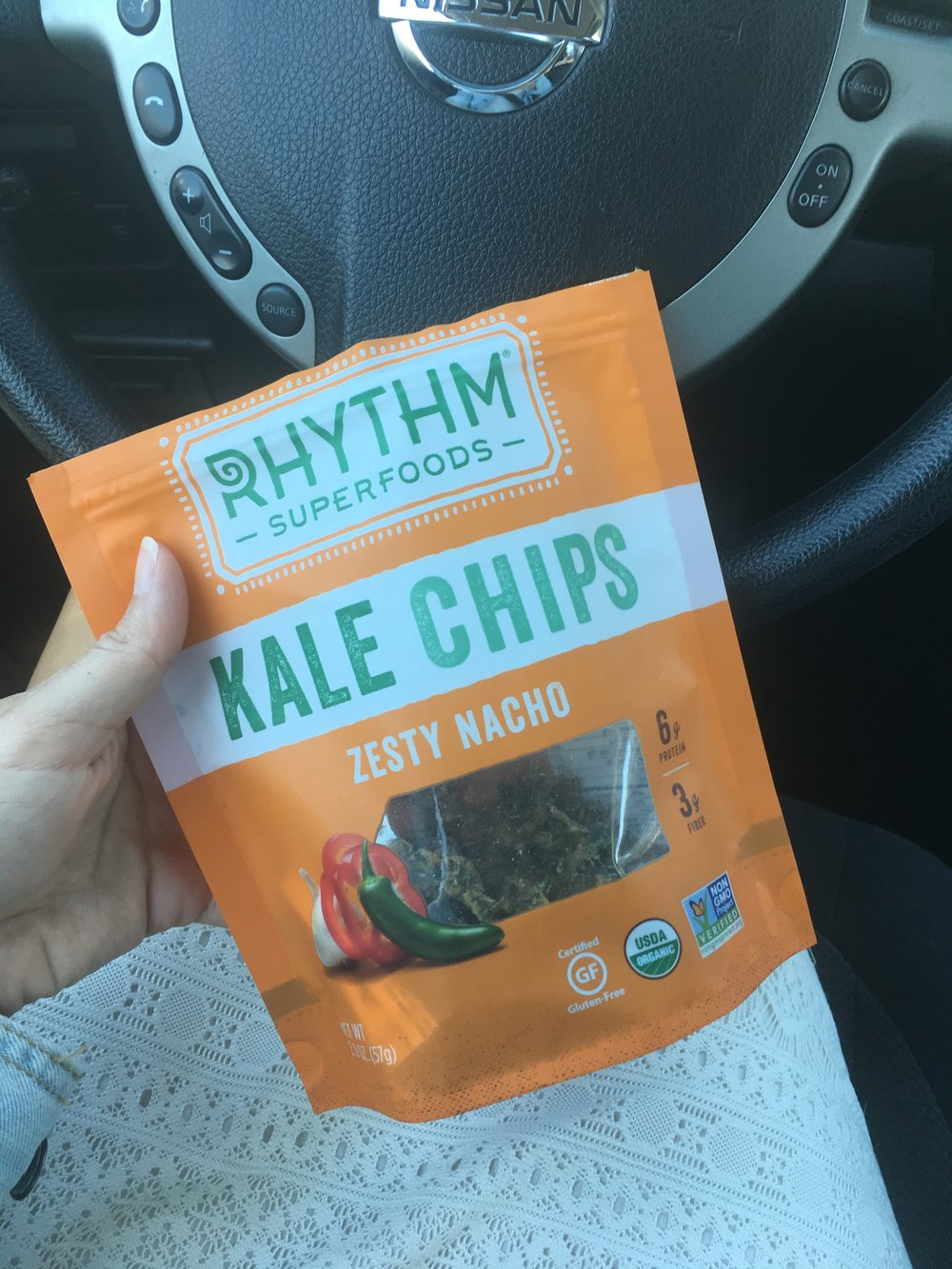 "Not recommended, but lunch one day was a bag of kale chips in the car. Ate a ""real"" lunch later on, but it had to do for my noon ""meal"""