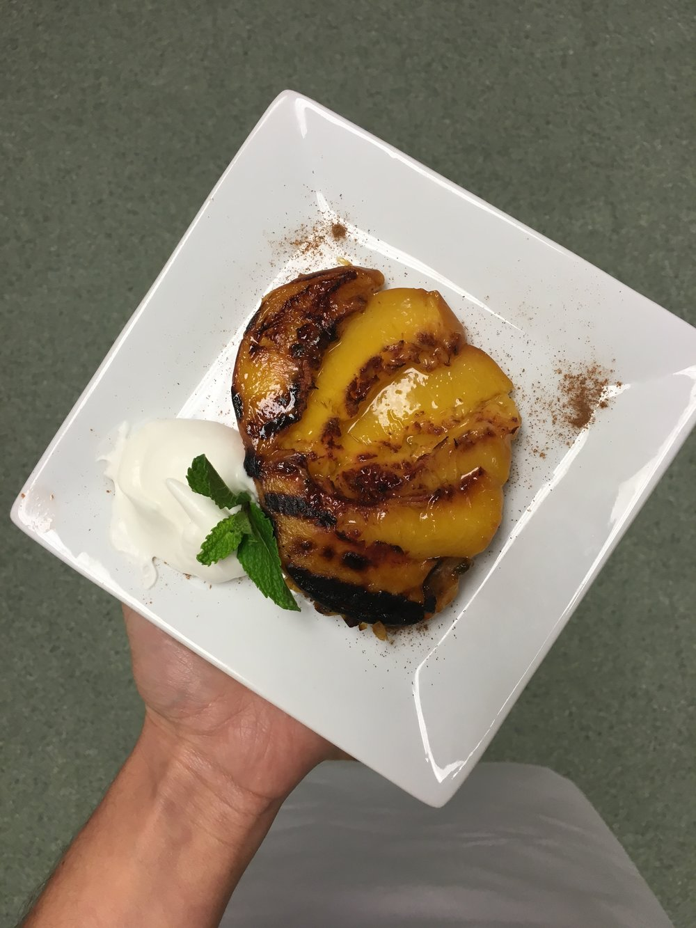 Grilled peach with yogurt whipped cream