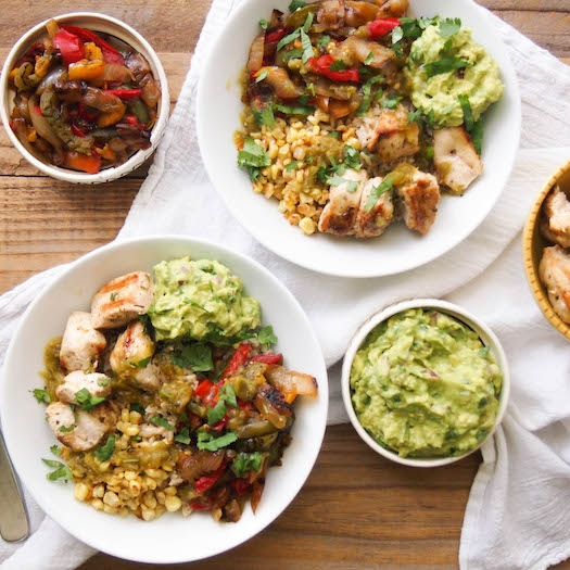 Grilled Chicken Burrito Bowl with Homemade Guacamole
