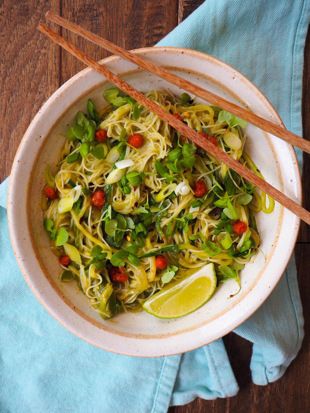 Vegan green curry avocado noodles!