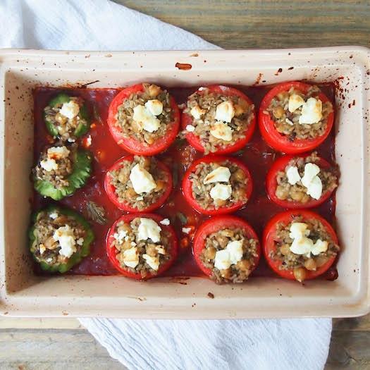 Pesto Brown Rice Stuffed Tomatoes and Zucchini