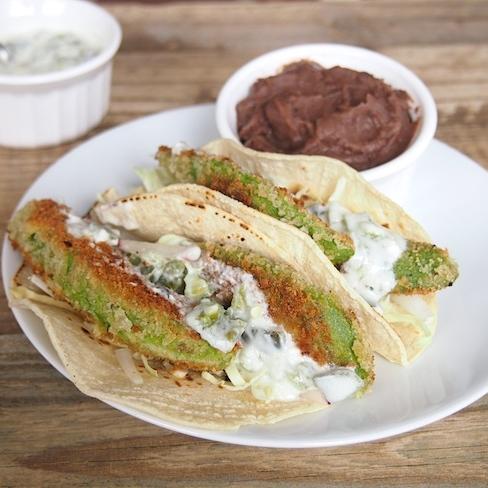 Fried Avocado Tacos with Jalapeno Sauce