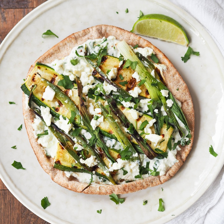 Grilled Zucchini, Scallion and Ricotta Pita Pizza