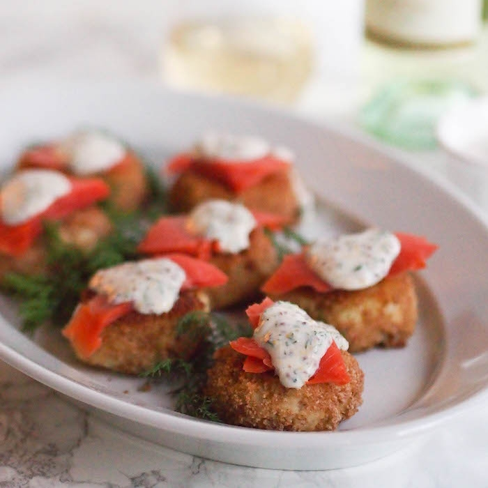 Potato Pancakes with Smoked Salmon and Mustard-Dill Sauce