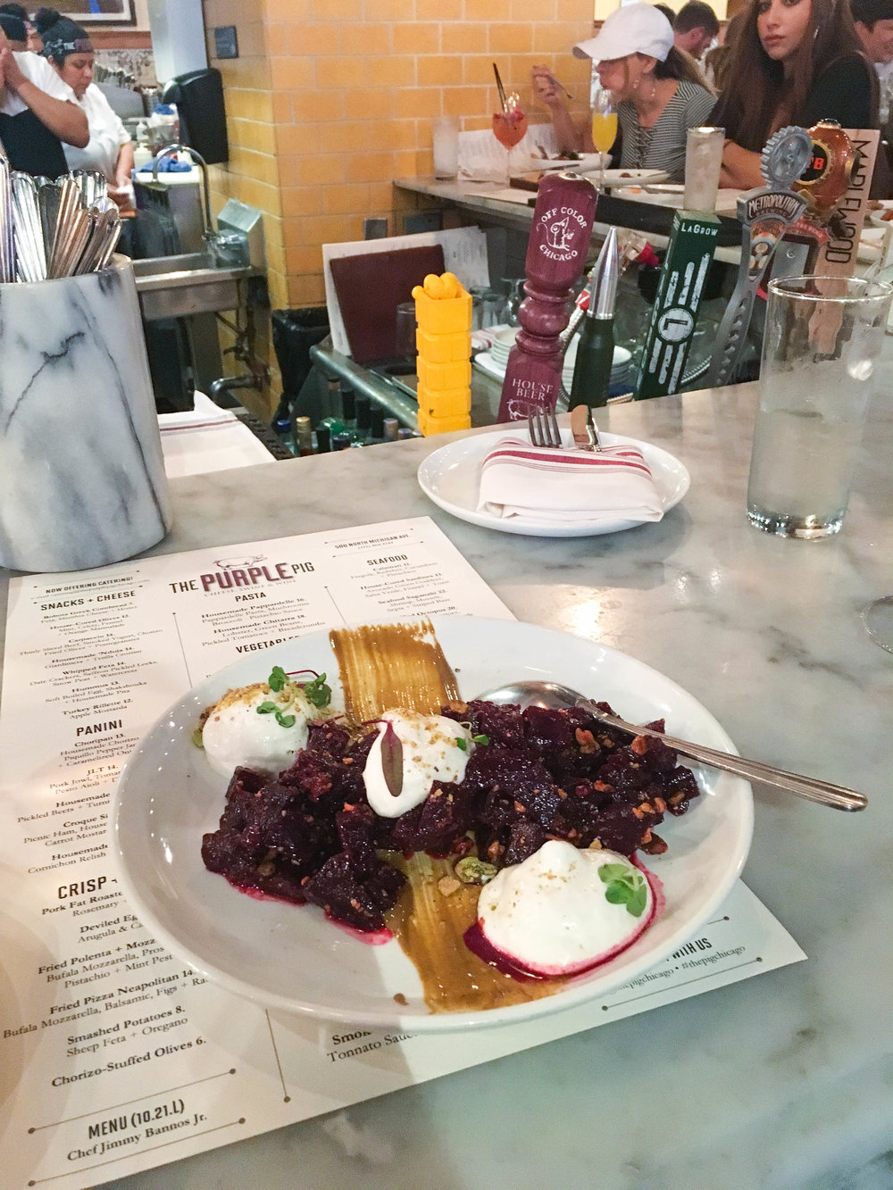 Salt-roasted beets with whipped ricotta and pistachio butter