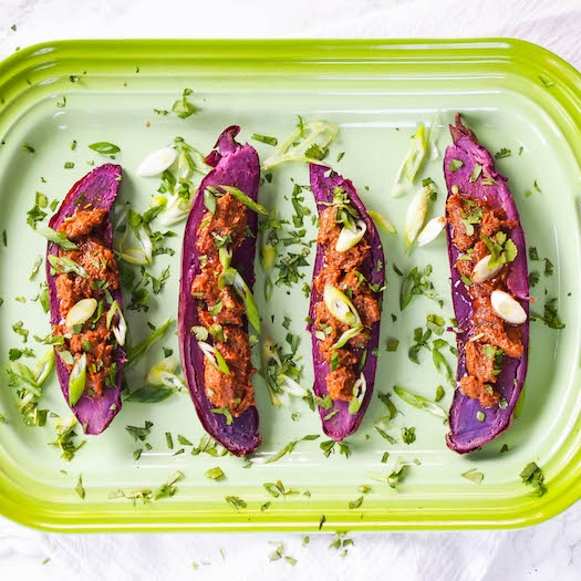 Baked Purple Sweet Potatoes with Miso Butter