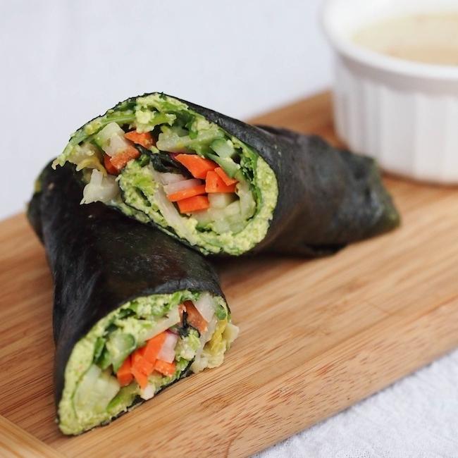 Vegetable Nori Wraps with Edamame Spread