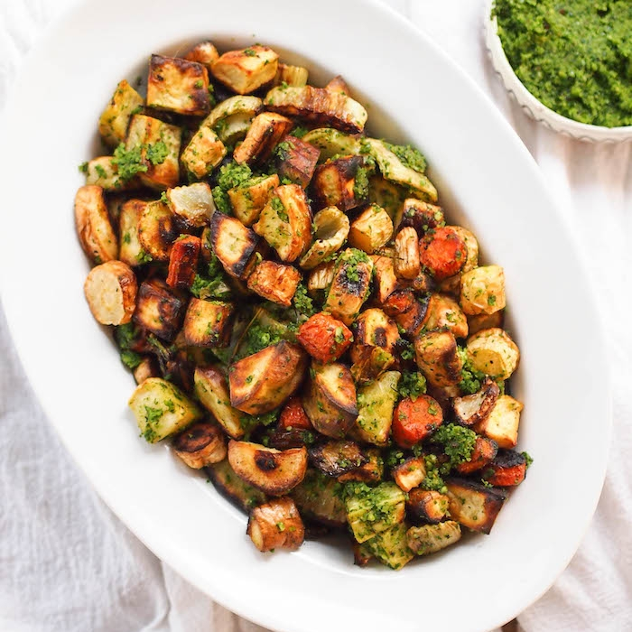 Roasted Fall Vegetables with Kale and Hazelnut Pesto