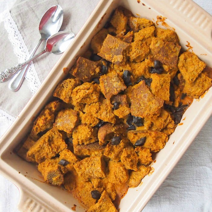 Vegan Pumpkin and Dark Chocolate Chunk Bread Pudding