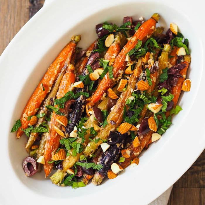Roasted Carrots with Tahini, Black Olives and Mint
