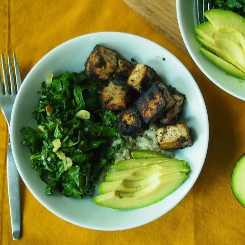 Jamaican Jerk Tofu Bowl with Garlicky Greens