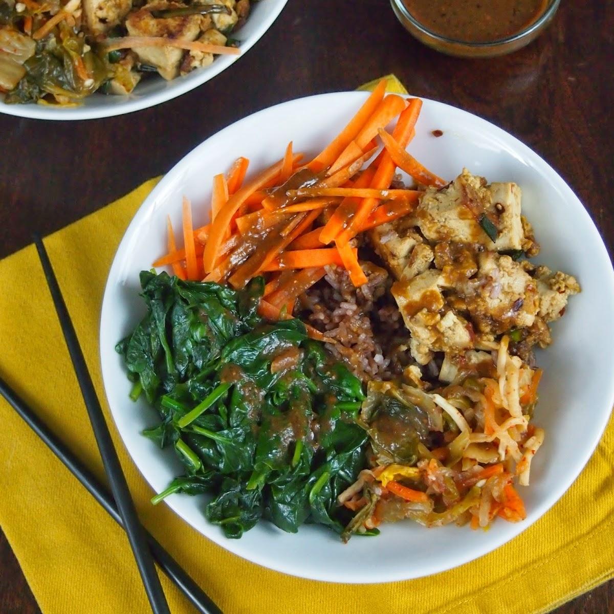 Buddha Bowl with Marinated Tofu, Kimchi, and Spinach