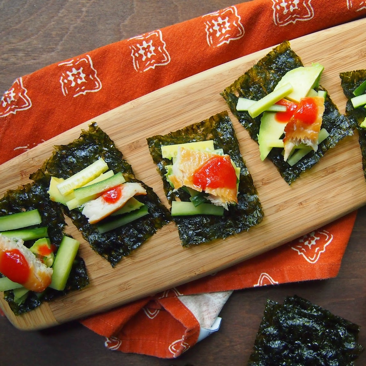 Toasted Nori Snacks with Smoked Trout and Avocado