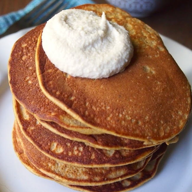 Paleo Pumpkin Pancakes with Maple Cashew Creme