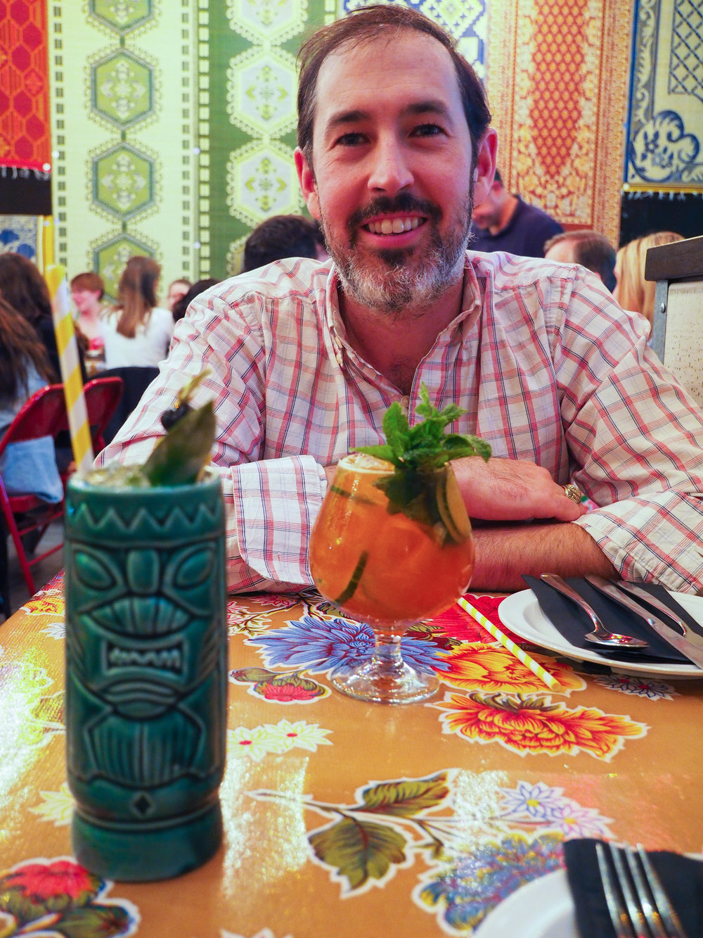 We were kinda obsessed with the tiki cocktail menu. Mine was a spicy, lime-y, mezcal-y drink.