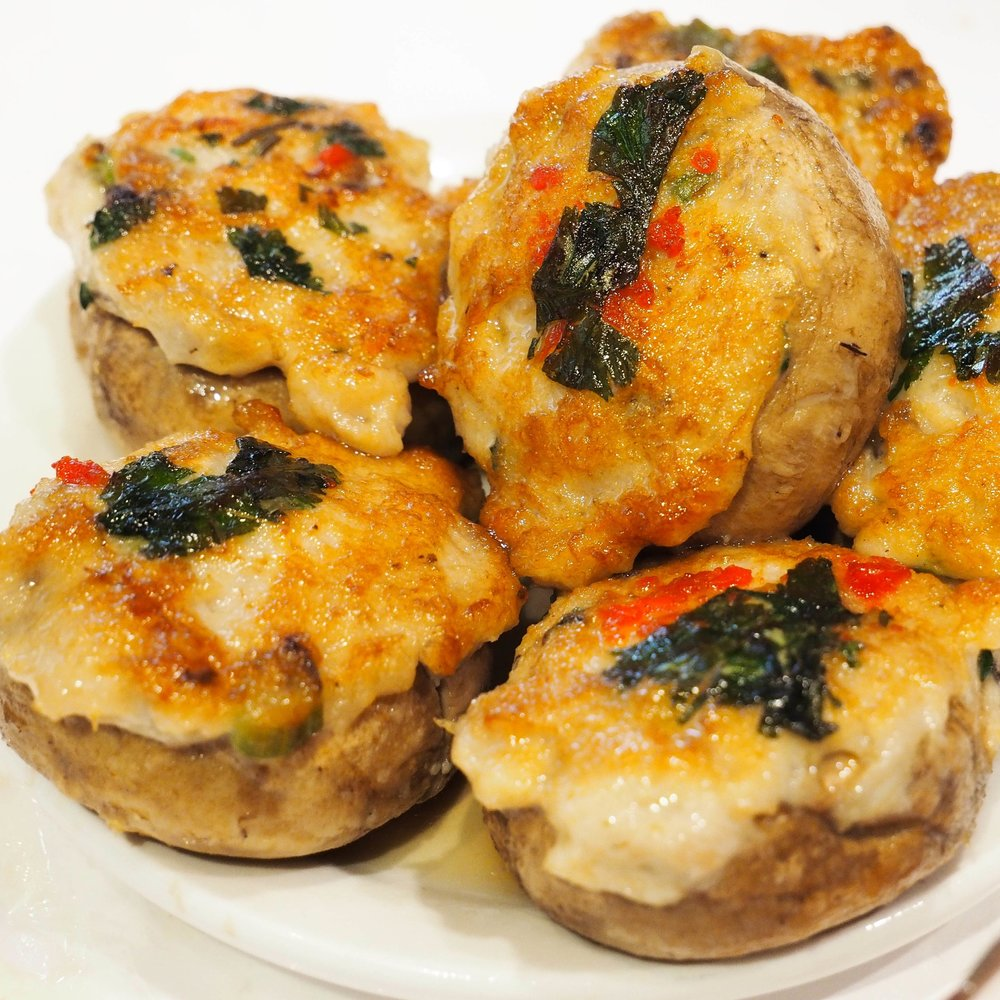 Shrimp and pork stuffed mushrooms
