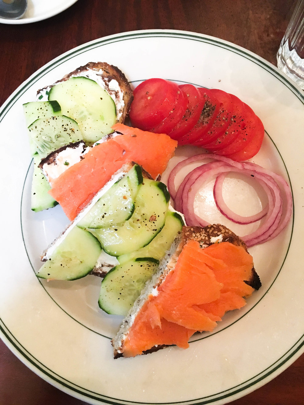 Scott's smoked salmon and cucumber toast with chive cream cheese. We were definitely on a toast kick.