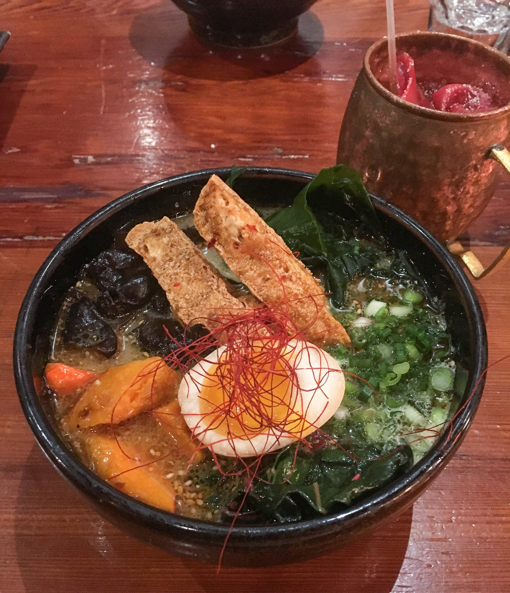 Vegetarian ramen with fried tofu, greens, mushrooms and roasted squash
