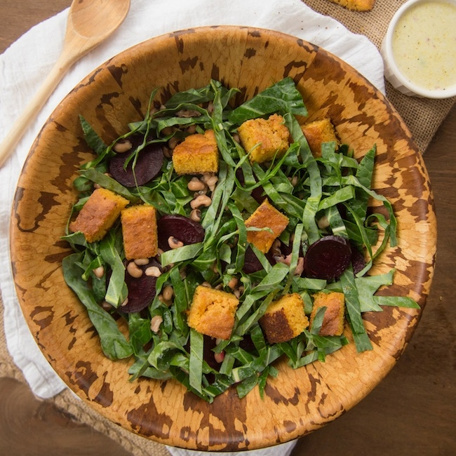 Collard Green Salad with Cornbread Croutons & Black-Eyed Peas