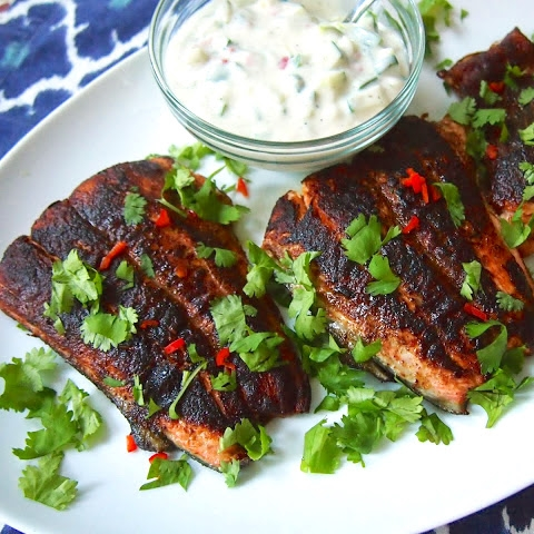 Taandori Salmon with Cucumber Yogurt Sauce