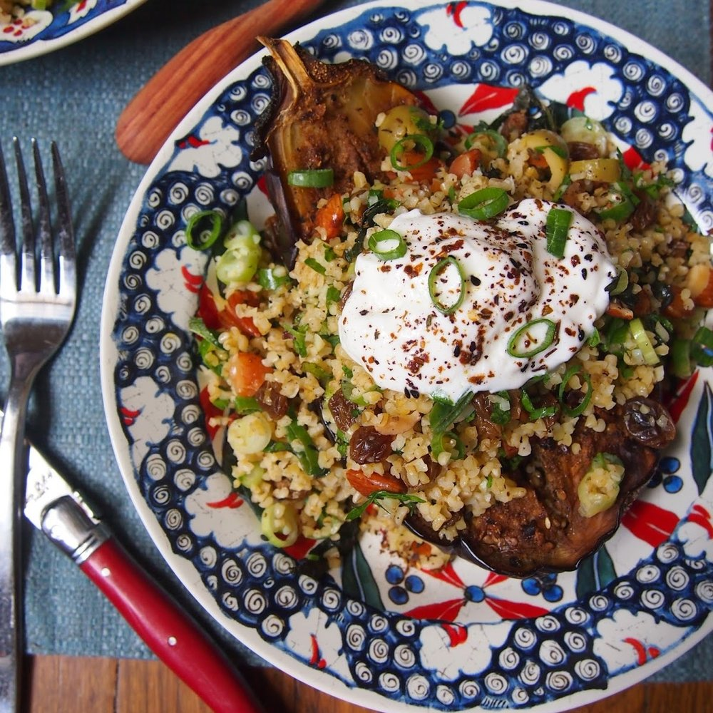 Chermoula Roasted Eggplant with Bulgur Salad