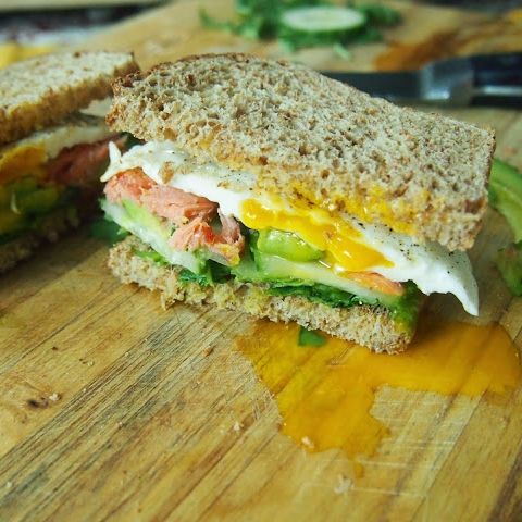 Smoked Salmon, Avocado and Fried Egg Breakfast Sandwich