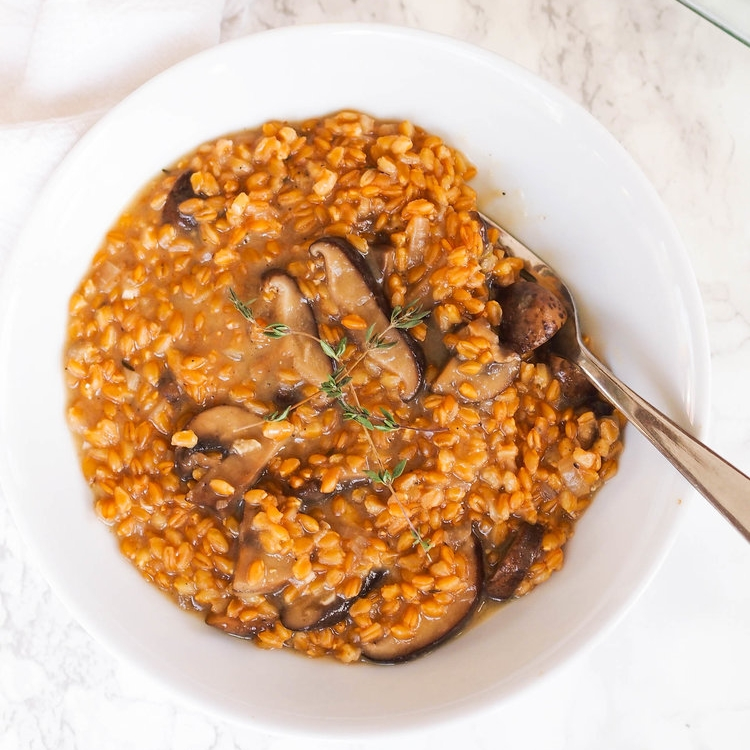 Instant Pot Mushroom and Wheat Berry Risotto