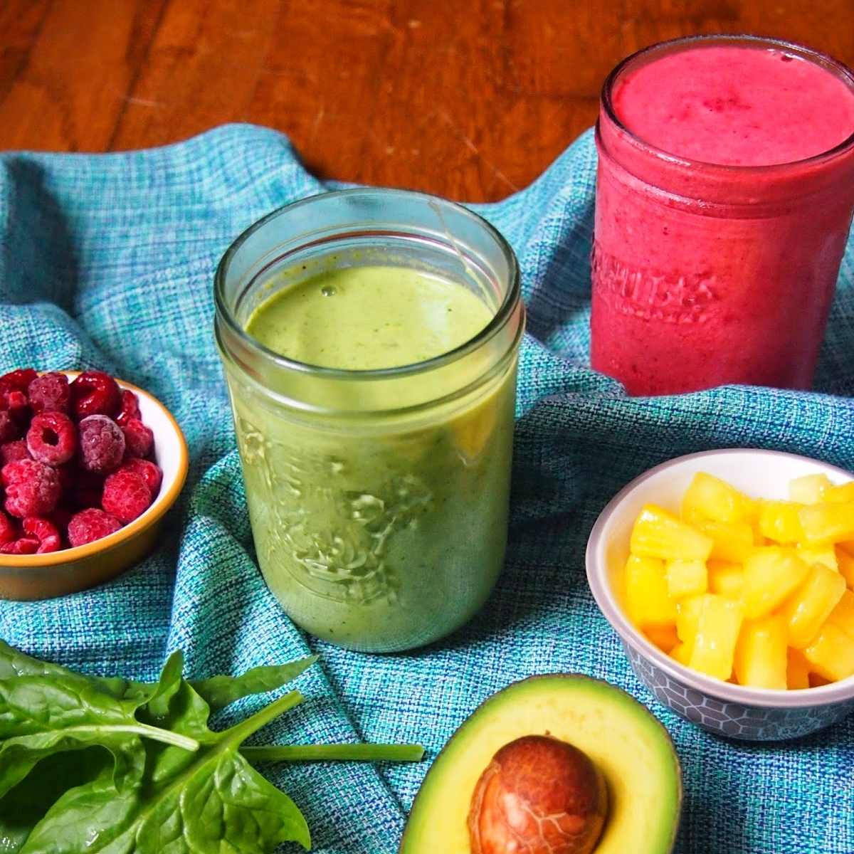 Raspberry Rooibos and Gingery Green Tea Smoothies