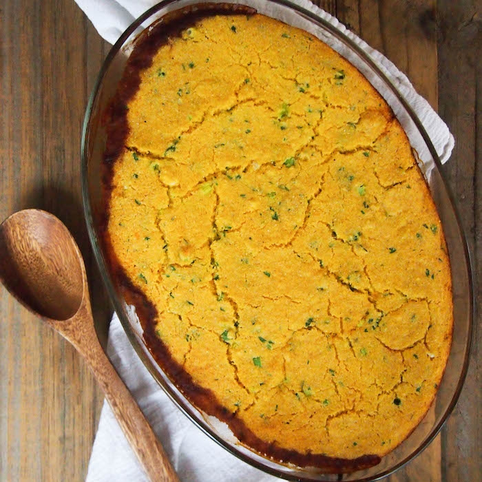 Black-Eyed Pea and Greens Casserole with Cornbread Crust