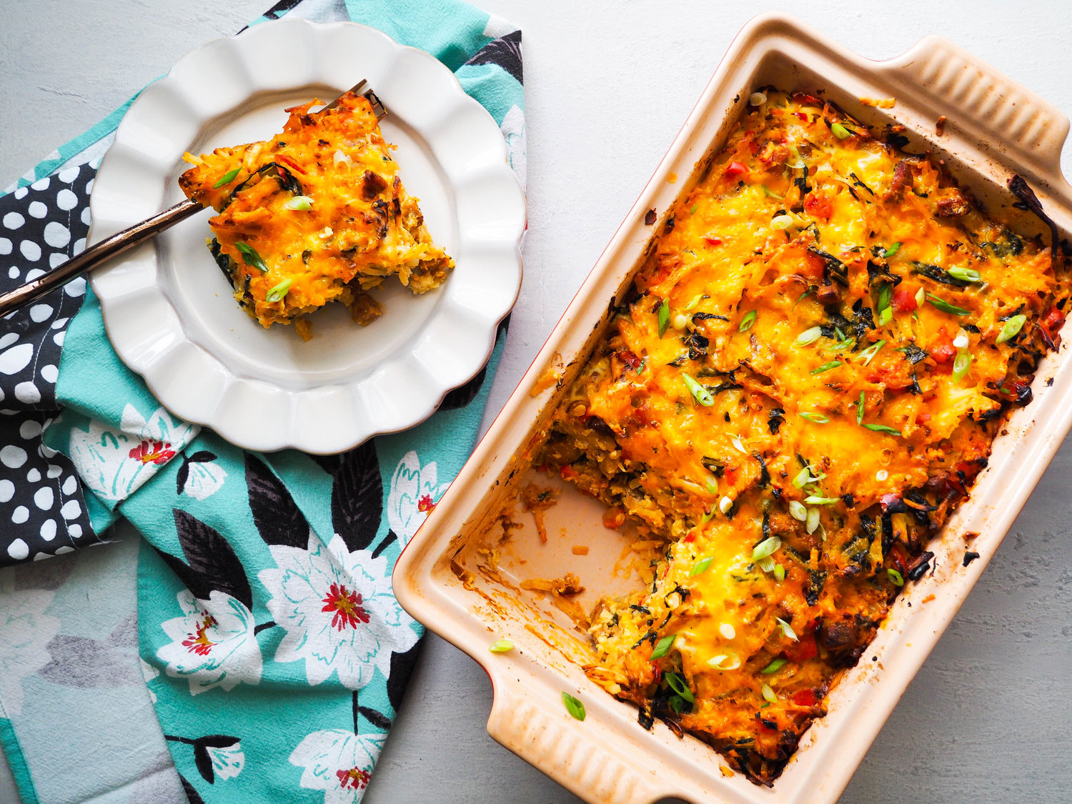 Hash Brown Breakfast Casserole with Peppers and Kale