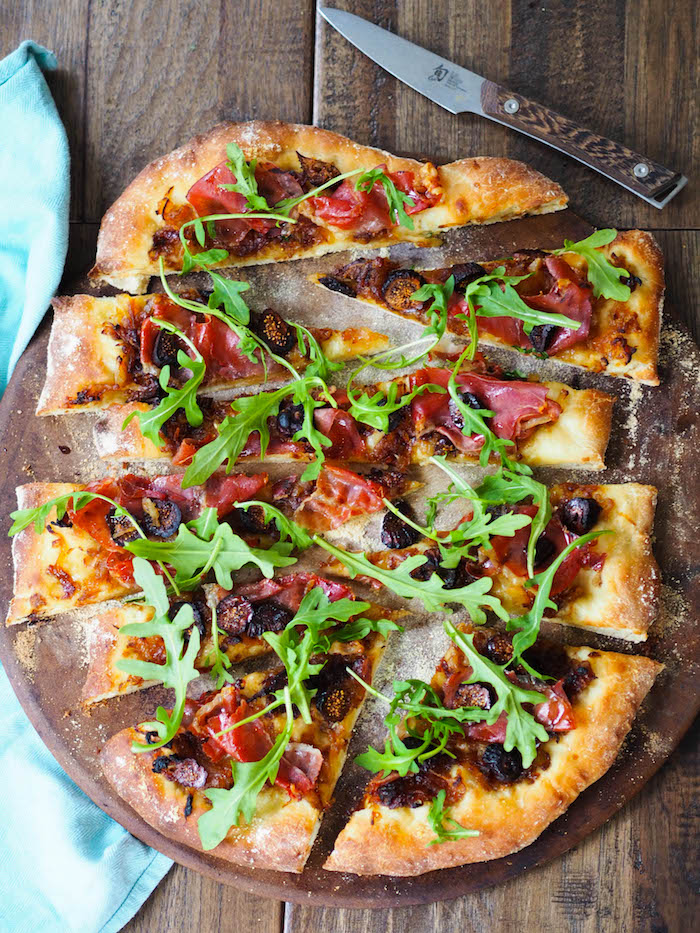 Caramelized Onion Flatbread with Prosciutto and Figs