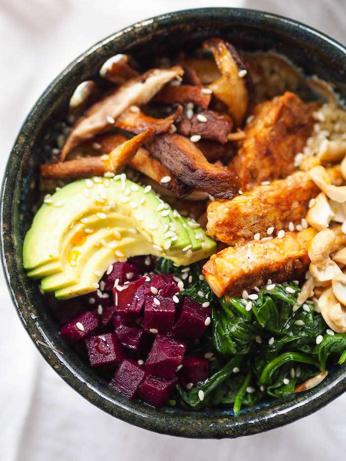 Quinoa Shiitake Bowl with Tempeh and Sesame Spinach