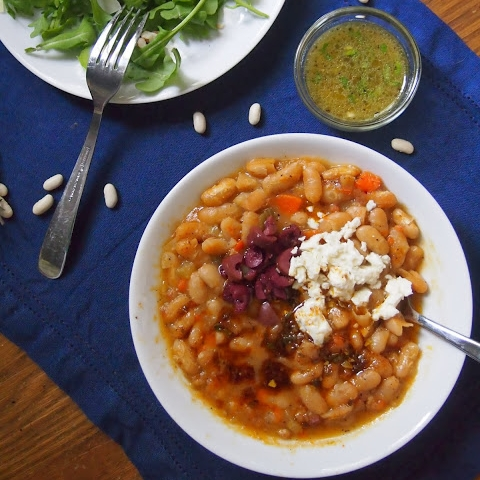 Simple White Bean Soup with Feta, Smoked Paprika Oil and Olives