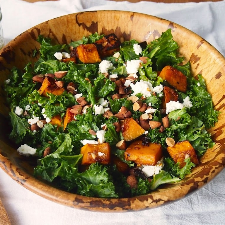 Chipotle Roasted Kabocha Squash and Kale Salad