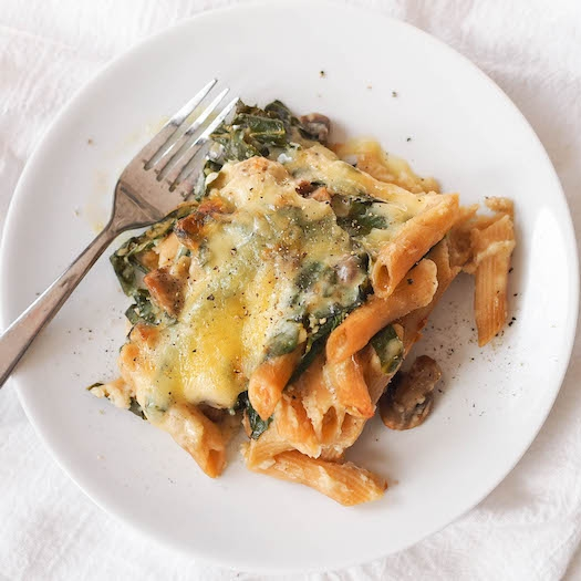 Creamy Cauliflower Pasta Bake with Mushrooms and Greens