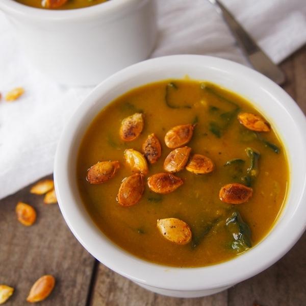 Kabocha, Kale and Roasted Garlic Soup