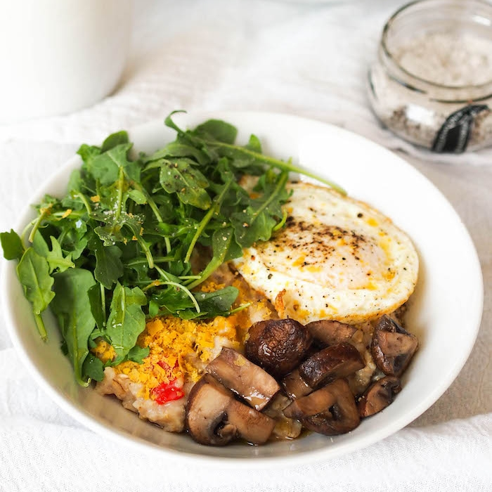 Savory Oatmeal with Garlicky Mushrooms, Fried Egg and Arugula