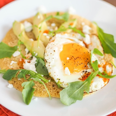 Chickpea Pancake with Avocado, Fried Egg and Arugula