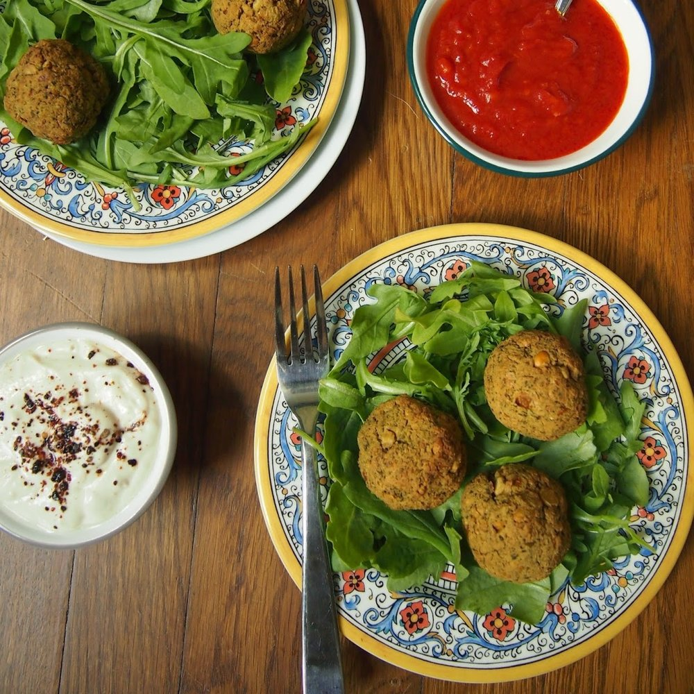 Baked Green Falafel with Three Dipping Sauces