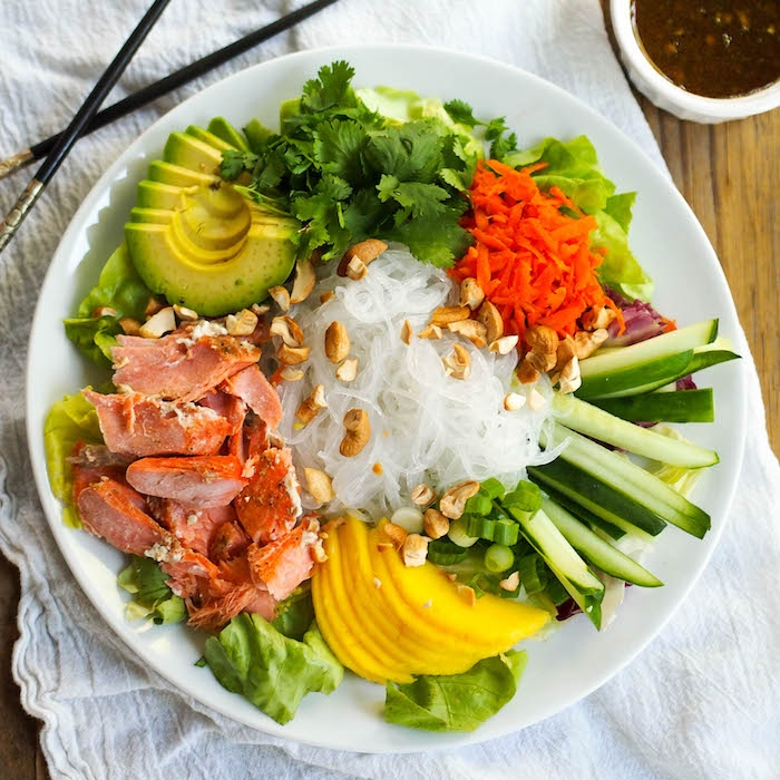 Curry Salmon Noodle Bowl with Soy-Lime Dressing